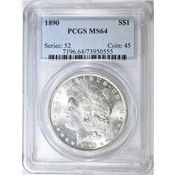 1890 MORGAN DOLLAR, PCGS MS-64