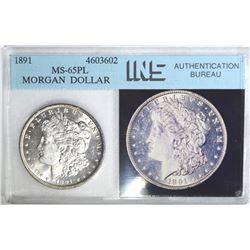 1891 MORGAN DOLLAR, INS GEM BU PL NICE GEM COIN