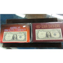 AMERICAN OBSOLETE CURRENCEY - 1957 $1 BILL & 1957A SILVER CERTIFICATE