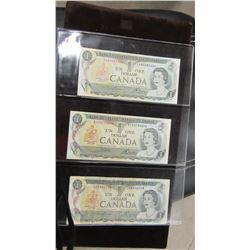 1973 STOCK SHEET CANADIAN $1 BILLS