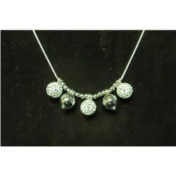 """Swarovksi crystal and silver ball pendants on silver 18"""" necklace with 2"""" extension"""