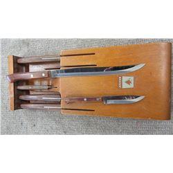 ESTATE - FLINT 6 PIECE KNIFE SET & HOLDER