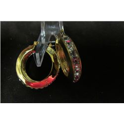 Gold hoop earrings with swarovski crystal accents
