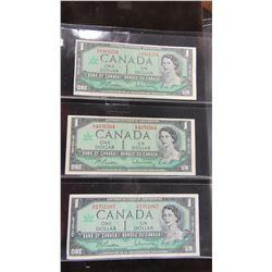 1967 SET OF SERIAL NUMBERED CANADA $1 BILLS
