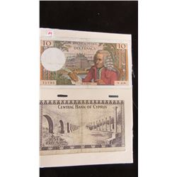 SET OF WORLD CURRENCY BANK NOTES FROM FRANCE & CYPRUS
