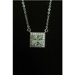 """Elegant square with princess cut swarovski crystals pendant on silver 16"""" necklace with 2"""" extension"""