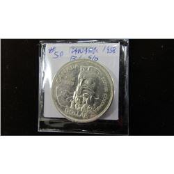 1958 BC TOTEM POLE CANADA SILVER DOLLAR