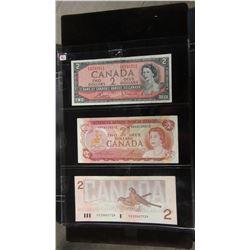 1954, 1974 & 1986 CANADIAN $2 BILLS