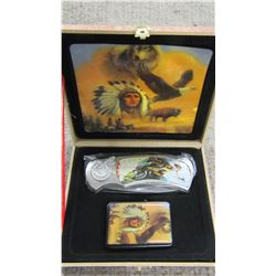 """NEW - """"INDIAN CHIEF"""" KNIFE AND LIGHTER SET"""