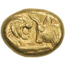 LYDIA: Time of Kroisos, 561-546 BC or later, AV stater (10.72g), Sardes mint. VF