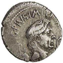 ROMAN IMPERATORIAL PERIOD: Sextus Pompey, in Sicily, 43-36 BC, AR denarius (3.89g), Sicily (42-40 BC