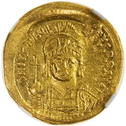 BYZANTINE EMPIRE: Justinian I, 527-565, AV solidus. NGC AU