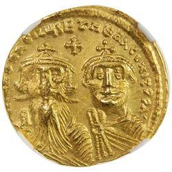 BYZANTINE EMPIRE: Heraclius, 610-641, AV solidus, Constantinople. NGC AU