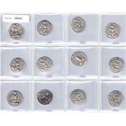 SASANIAN KINGDOM: Peroz, 457-484, LOT of 12 silver drachms