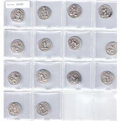 SASANIAN KINGDOM: Peroz, 457-484, LOT of 14 silver drachms