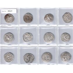 SASANIAN KINGDOM: Khusro I, 531-579, SET of 12 silver drachms from 8 different mints