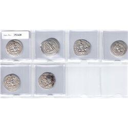 SASANIAN KINGDOM: Khusro I, 531-579, SET of 6 silver drachms from the YZ mint (Yazd)