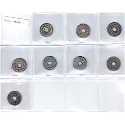 SEMIRECH'E: Turgesh, 8th century, LOT of 8 AE cash coins