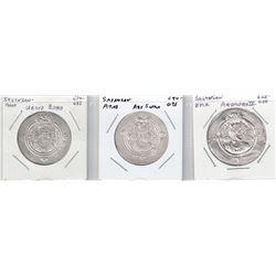 ARAB-SASANIAN: LOT of 2 Arab-Sasanian and 1 Sasanian high-grade silver drachms