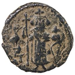 ARAB-BYZANTINE: Standing Emperor, ca. 680s-690s, AE fals (3.08g), Dimashq. VF