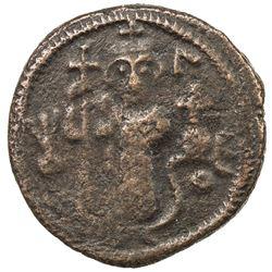 ARAB-BYZANTINE: Standing Emperor, ca. 680s-690s, AE fals (4.09g), Dimashq. VF