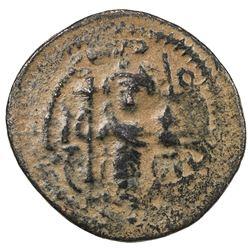 ARAB-BYZANTINE: Standing Emperor, ca. 680s-690s, AE fals (3.87g), Dimashq. VF