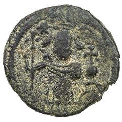 "ARAB-BYZANTINE: Standing Emperor, ca. 670-700, AE fals (3.08g), ""Damascus"", ND. VF"