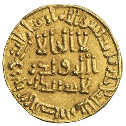 "UMAYYAD: 'Abd al-Malik, 685-705, AV dinar (4.14g), NM (Dimashq style), AH""86"". EF"