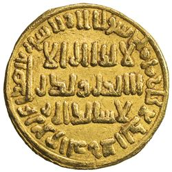 UMAYYAD: 'Abd al-Malik, 685-705, AV dinar (4.24g), NM (Dimashq style), blundered date. VF-EF
