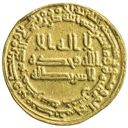 ABBASID: al-Ma'mun, 810-833, AV dinar (4.04g), Misr, AH215. VF-EF