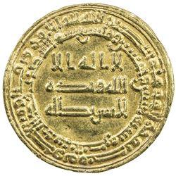 ABBASID: al-Mu'tazz, 866-869, AV dinar (4.11g), al-Basra, AH252. VF-EF