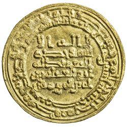 ABBASID: al-Muqtadir, 908-932, AV dinar (4.11g), Misr, AH302. UNC