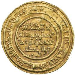 ALMORAVID: Ibrahim b. Abi Bakr, 1070-1074, AV dinar (4.14g), Sijilmasa, AH465. VF