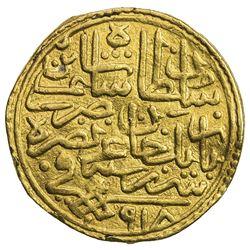 OTTOMAN EMPIRE: Selim I, 1512-1520, AV sultani (3.48g), Serez, AH918. VF