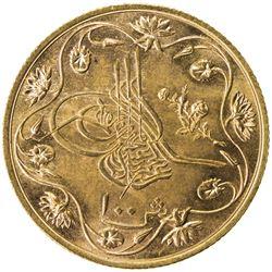EGYPT: Abdul Hamid II, 1876-1909, AV 100 qirsh, Misr, AH1293 year 12. UNC