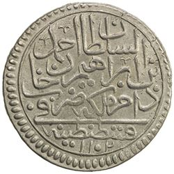 TURKEY: Ahmet II, 1691-1695, AR 1/2 kurush (8.83g), Kostantiniye, AH1102. EF