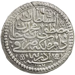 TURKEY: Mustafa II, 1695-1703, AR 1/2 kurush (9.22g), Edirne, AH1106. EF