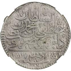TURKEY: Mustafa II, 1695-1703, AR kurush, Edirne, AH1106. NGC EF