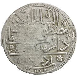 "TURKEY: Mustafa II, 1695-1703, AR kurush (19.33g), Edirne, AH""1102"". VF"