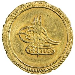 TURKEY: Mustafa IV, 1807-1808, AV sultani (3.20g), Kostantiniye, AH1222 year 1. UNC