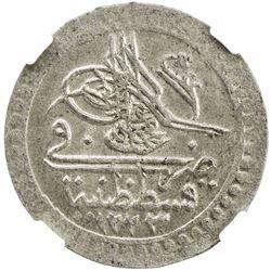 TURKEY: Mahmud II, 1808-1839, AR 10 para, Kostantiniye, AH1223 year 5. NGC MS62
