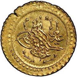 TURKEY: Mahmud II, 1808-1839, AV ¼ surre altin (0.48g), Dar al-Khilafa, AH1223 year 16, PCGS MS65