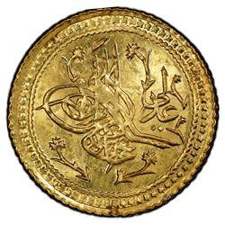 TURKEY: Mahmud II, 1808-1839, AV surre altin (1.59g), Dar al-Khilafa, AH1223 year 16. PCGS MS64