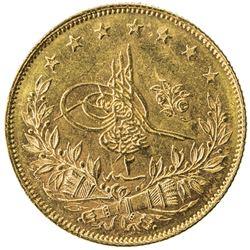 TURKEY: Abdul Hamid II, 1876-1909, AV 100 kurush, Kostantiniye, AH1293 year 2. UNC