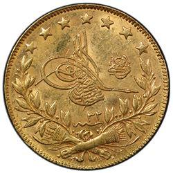 TURKEY: Abdul Hamid II, 1876-1909, AV 100 kurush, Kostantiniye, AH1293 year 32. PCGS MS63