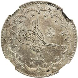 TURKEY: Abdul Hamid II, 1876-1909, AR 5 kurush, Kostantiniye, AH1293 year 11. NGC MS62