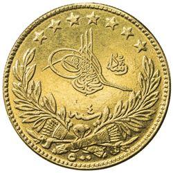 TURKEY: Mehmet V, 1909-1918, AV 500 kurush, Kostantiniye, AH1327 year 4. EF
