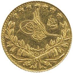 TURKEY: Mehmet V, 1909-1918, AV 25 kurush, Bursa, AH1327 year 1. AU