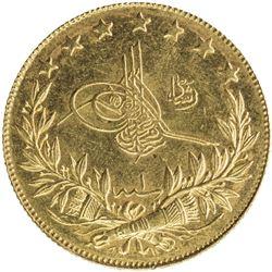 TURKEY: Mehmet V, 1909-1918, AV 100 kurush, Bursa, AH1327 year 1. BU