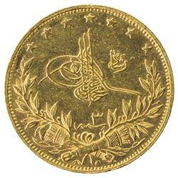 TURKEY: Mehmet V, 1909-1918, AV 100 kurush, Salanik (Thessalonica), AH1327 year 3. BU